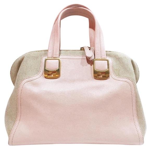 Fendi pink leather canvas chameleon handbag